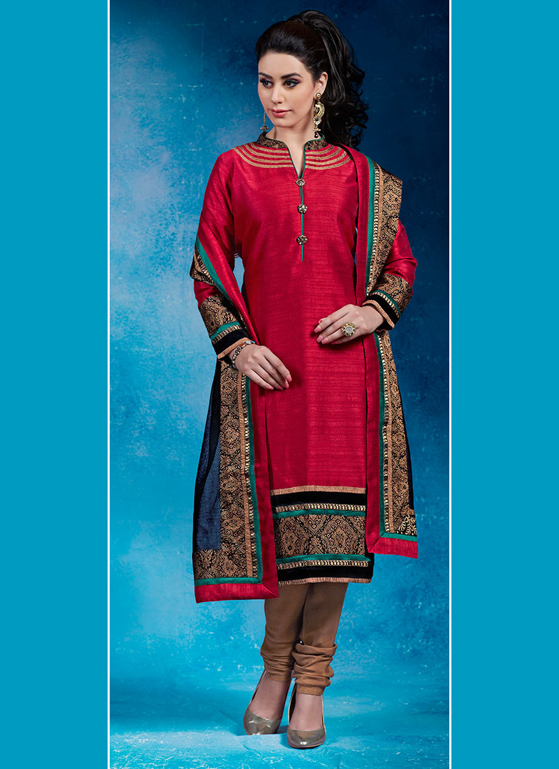 Buy Red Zari Embroidered Churidar Suit, Zari , Embroidered , Dupion ...