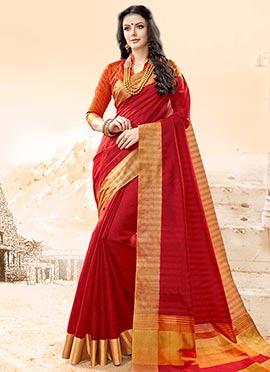 Red Zari Woven Saree