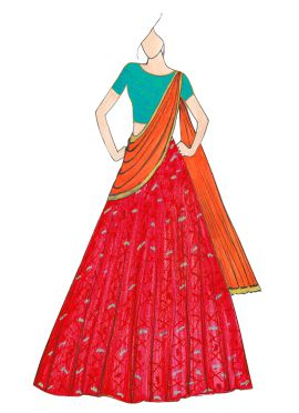 Reddish Pink and Orange Patola Lehenga Saree