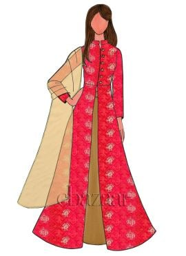 Reddish Pink Art Silk Long Choli Lehenga Set