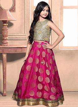 Reddish Pink Art Silk Teens Lehenga Choli