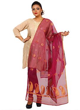 Reddish Pink Benarasi Art Silk Dupatta