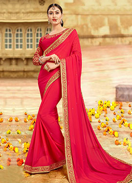 Reddish Pink Georgette Border Saree
