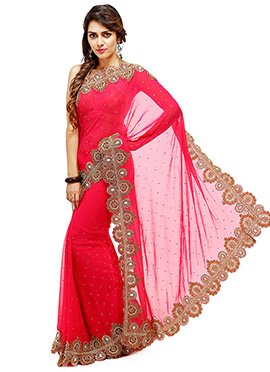 Reddish Pink Georgette Saree