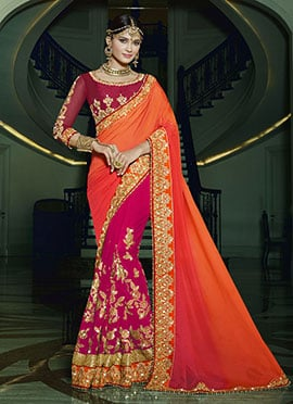 Reddish Pink N Orange Half N Half Saree