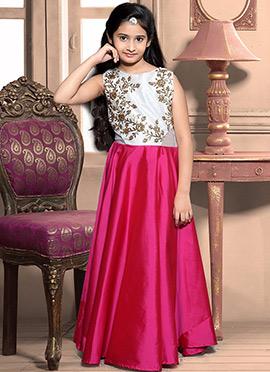 Reddish Pink N White Art Silk Teens Gown