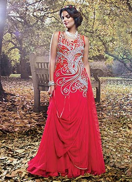 Reddish Pink Net Drape Gown