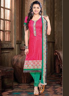 Reddish Pink Silk Blend Churidar Suit