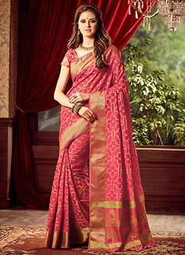 Reddish Pink Uppada Art Silk Saree