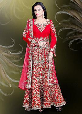 Coral Red Velvet Anarkali Gown