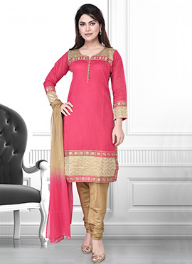 Regal Red Art Silk Churidar Suit