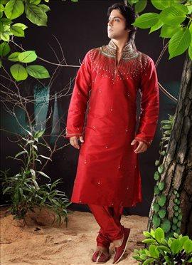 Rich Ethnic Dupion Silk Kurta Pyjama