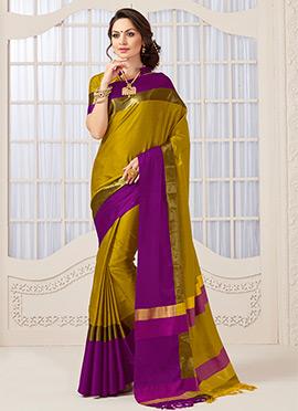 Rich Gold N Purple Art Silk Saree