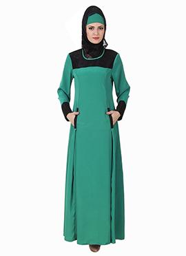 Rihab Crepe Turquoise Green Abaya