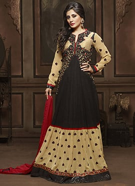 Rimi Sen Black N Beige Floor Length Anarkali Suit