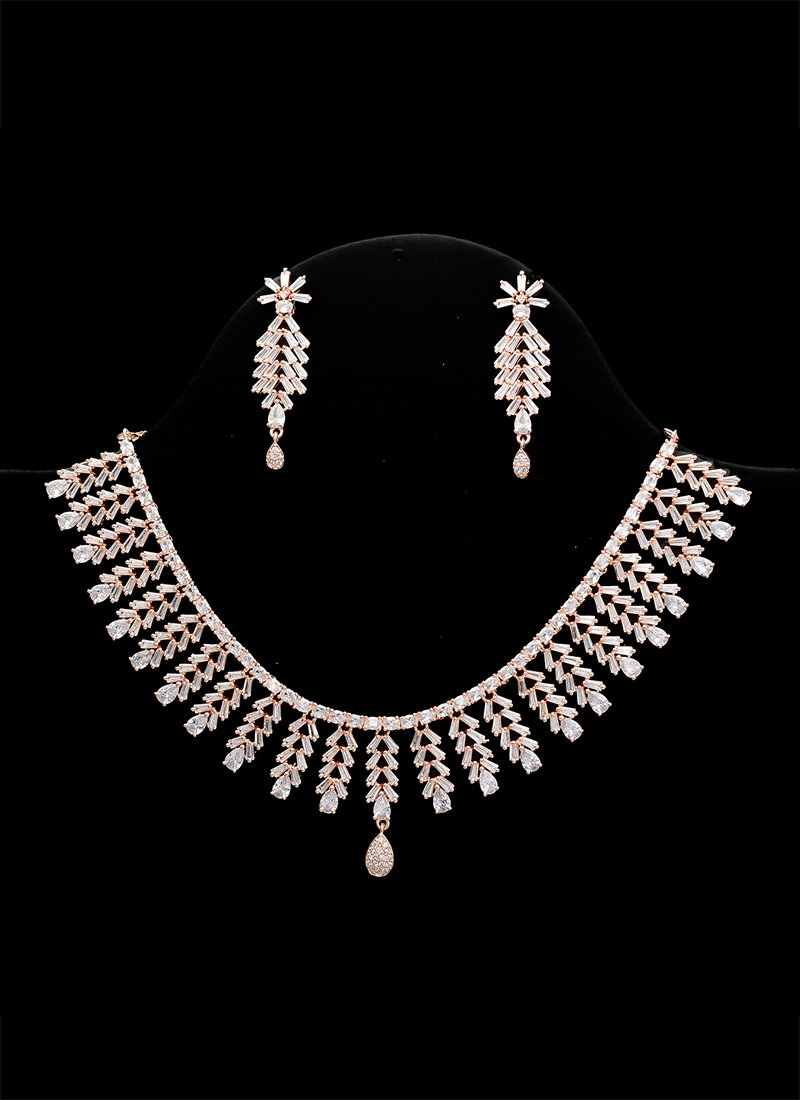 Buy Rose Gold N White Necklace Set Stones Necklace Online Shopping Jysjde1576