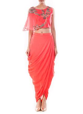 Rose Peach Draped Skirt Set