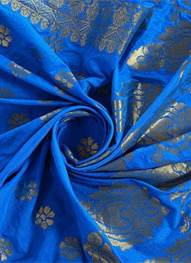 Royal Blue Art Benarasi Silk Dupatta