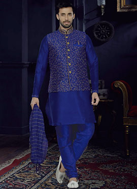 Royal Blue Art Dupion Silk Bandi Set