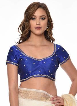 db47717898735b Royal Blue Art Dupion Silk Blouse