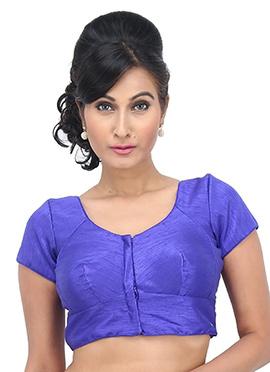Royal Blue Art Dupion Silk Blouse