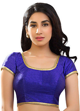 Royal Blue Art Dupion Silk Blouse