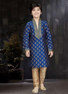 Royal Blue Art Dupion Silk Kids Kurta Pyjama