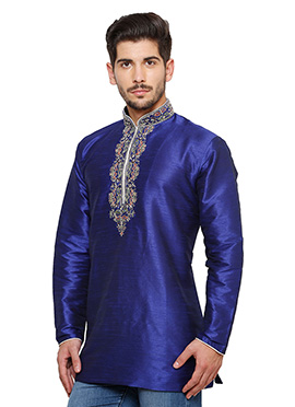 Royal Blue Art Dupion Silk Kurta