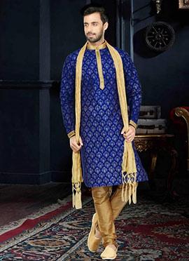 Royal Blue Art Dupion Silk Kurta Pyjama