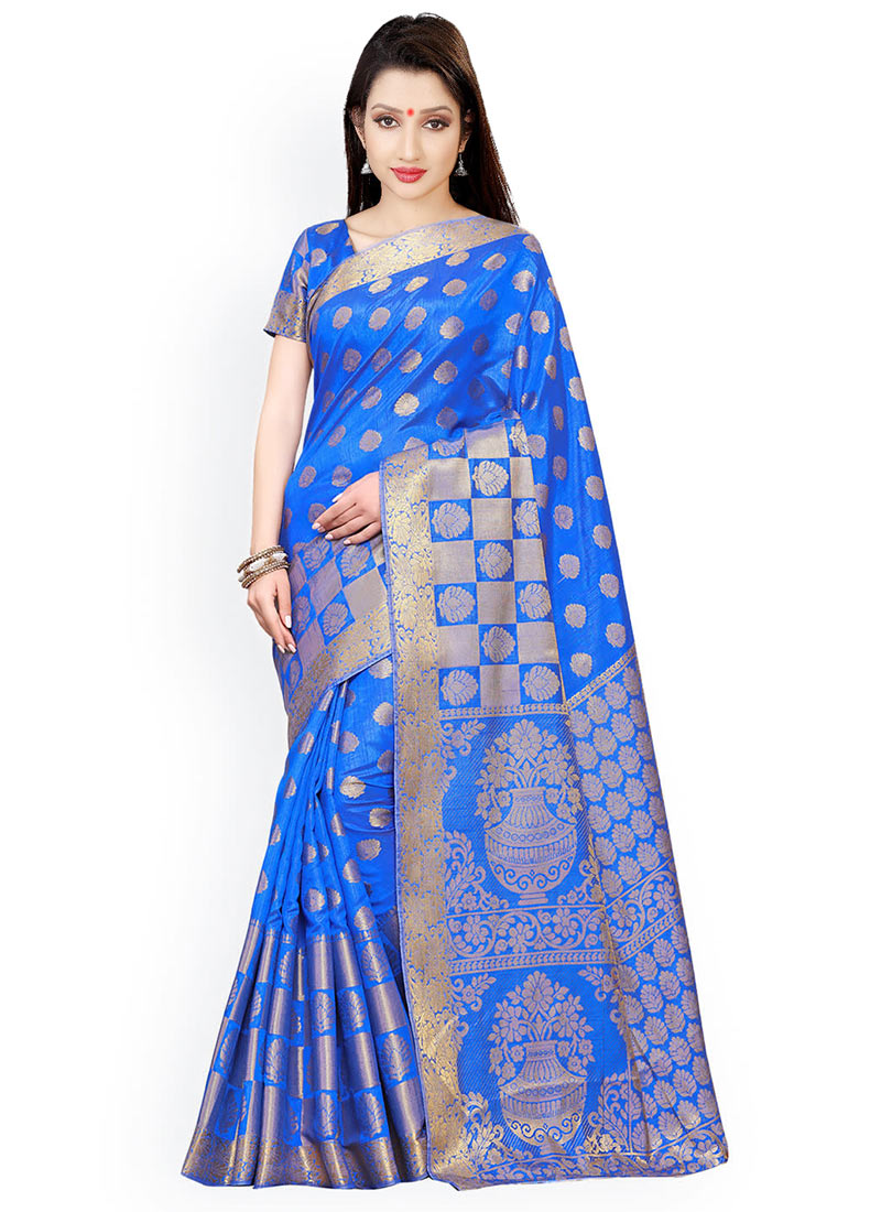 b86b909895 Buy Royal Blue Art Kancheepuram Silk Saree, Kancheepuram , Zari ...