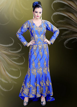 Royal Blue Art Raw Silk Asymmetric Gown