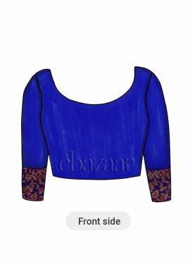 Royal Blue Art Raw Silk Blouse