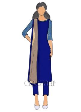 Royal Blue Art Raw Silk Straight Pant Suit