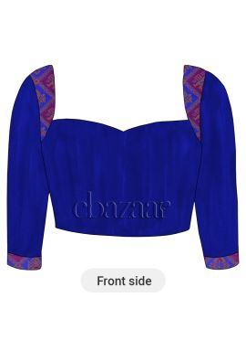 Royal Blue Art Raw Silk Sweet Heart Neck Blouse