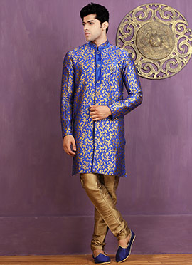 Royal Blue Art Silk Achkan Sherwani