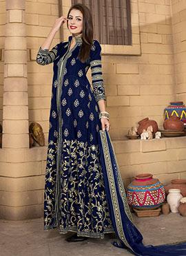 Royal Blue Art Silk Anarkali Suit