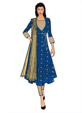 Royal Blue Art Silk Angrakha Anarkali Suit