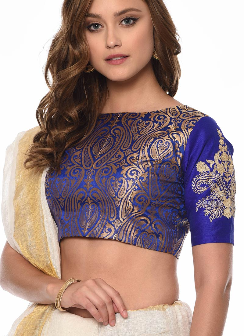 Buy Royal Blue Art Silk Blouse Embroidered Brocade