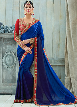 Royal Blue Art Silk Border Saree