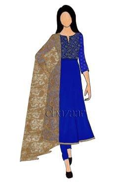 Royal Blue Art Silk Brocade Chudidar Suit