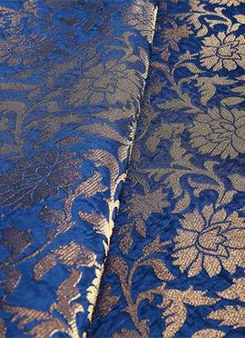 Royal Blue Art Silk Brocade Fabric