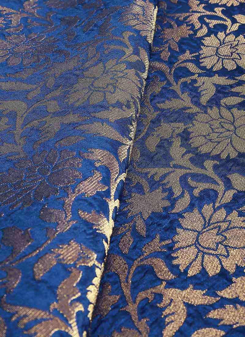 Buy Royal Blue Art Silk Brocade Fabric Brocade Blended