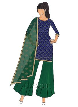 Royal Blue Art Silk Brocade Palazzo Suit