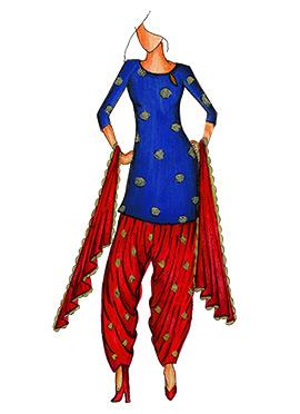 Royal Blue Art Silk Cowled Patiala Suit