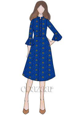 Royal Blue Art Silk Flared Sleeve Kurti