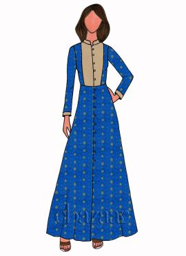 Royal Blue Art Silk Full Sleeve Kurti