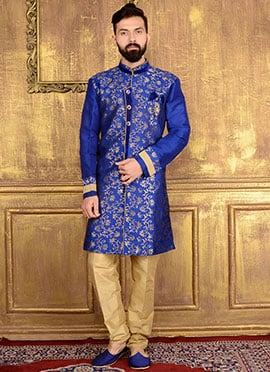 Royal Blue Art Silk Indowestern Sherwani