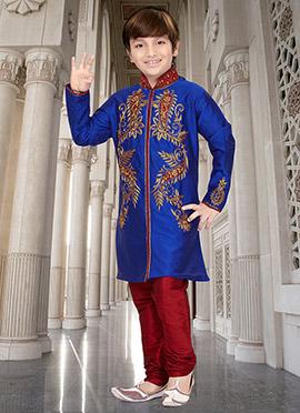 Royal Blue Art Silk Kids Kurt Pyjama