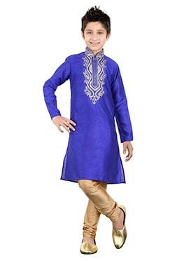 Royal Blue Art Silk Kids Kurta Pyjama