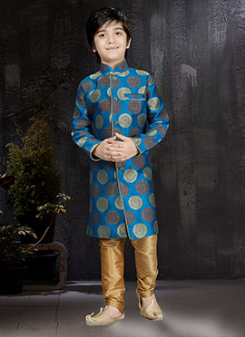 Royal Blue Art Silk Kids Kurta Pyjama